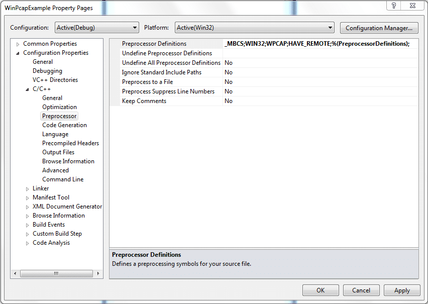 Preprocessor Definintions