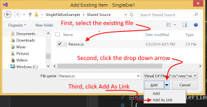 Visual Studio Add As link